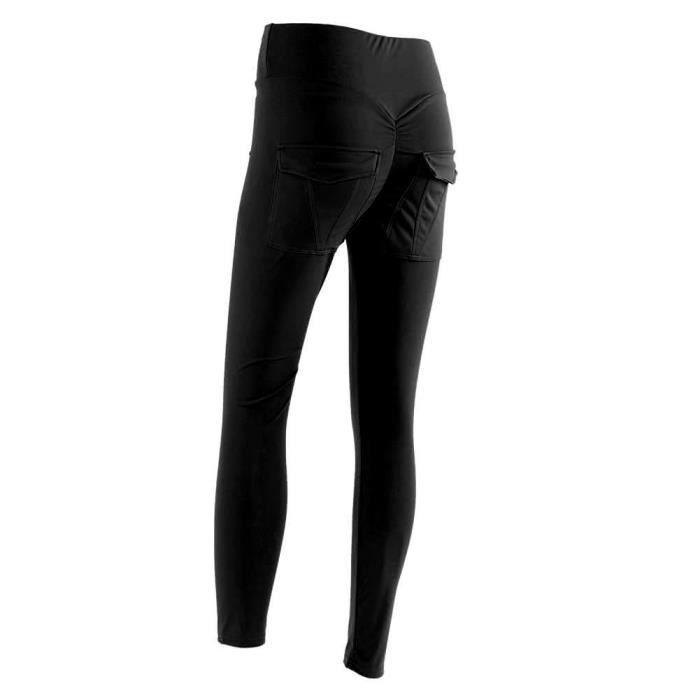 Qiilu Pantalons de sport pour femmes Femmes Yoga Gym Pantalon de sport Hip Push Up Leggings Fitness Workout Stretch (Noir XL)