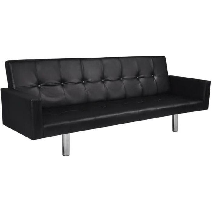Canapé-lit avec accoudoir Cuir synthétique Noir Canapé-lit Canapé convertible Canapé d'angle HB055