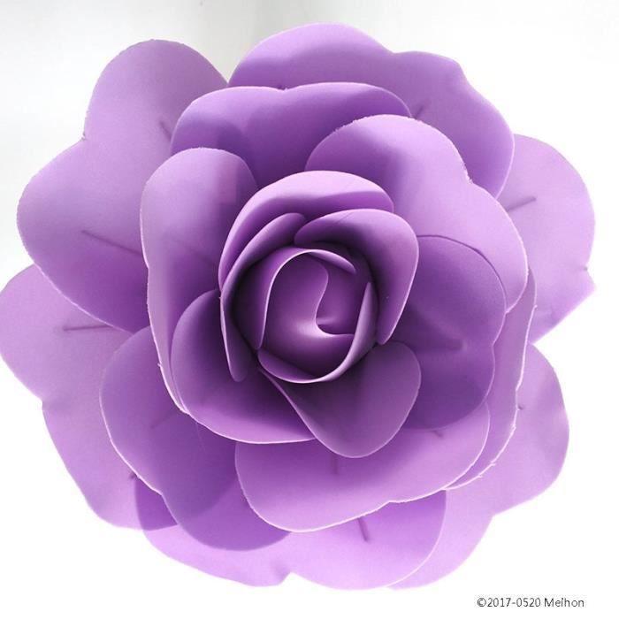 Décoration florale,Grandes Roses artificielles en mousse,ensemble de mur de fleur de mariage de Style européen - Type violet - 30cm