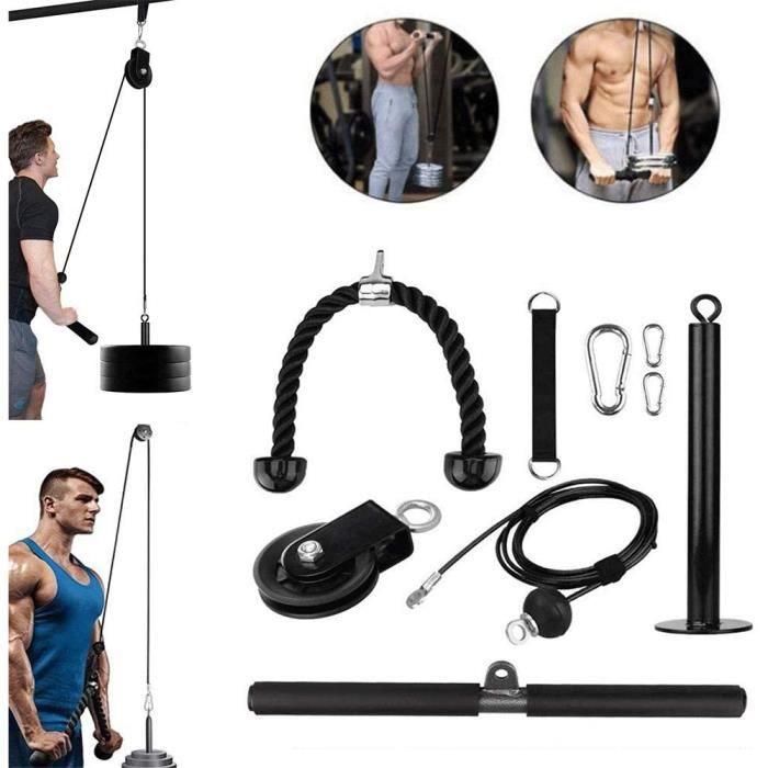 GJXJY Musculation Poulie Haute avec Corde Triceps Rouleau de Poignet Max Poids 280 LB Entra nement Avant Bras Epaules Biceps [4293]