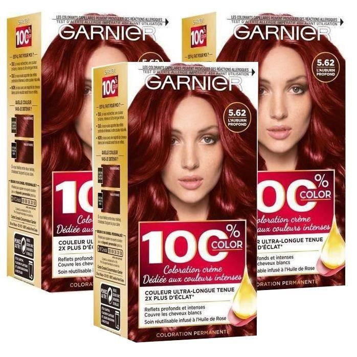 GARNIER Coloration permanente 100% Ultra color auburn - N 562 (Lot de 3)