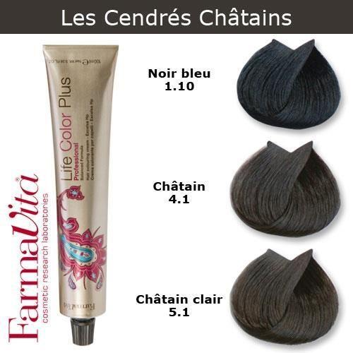 Coloration cheveux FarmaVita - Tons Cendrés Châtains Noir bleu cendré 1.10