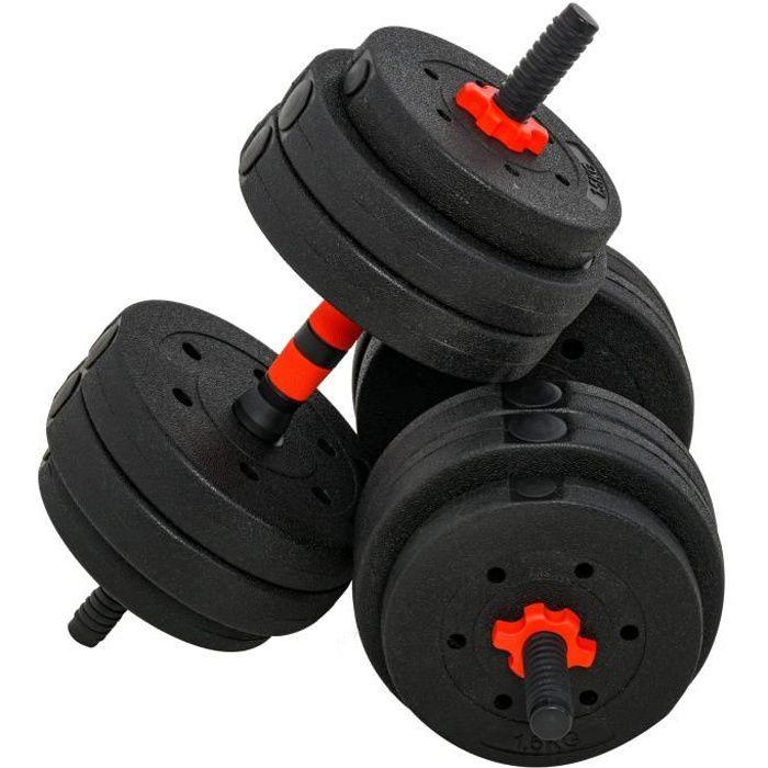 Ensemble d'haltères courtes total 25 Kg - barres incluses - entraînement musculaire & haltérophilie - acier HDPE noir rouge