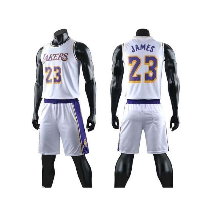 Maillot NBA 23# Lakers Lebron James All-Star, T-Shirt De Basket-Ball pour Hommes Et Shorts De Basketball - Blanc