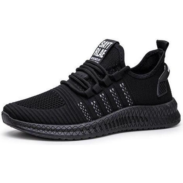 Chaussures de course de sport pour hommes, chaussures légères en maille volante-gris