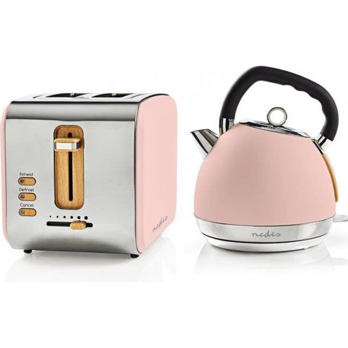 PACK Soft Touch Bouilloire Rose 1.8L + Grille Pain Rose 900w