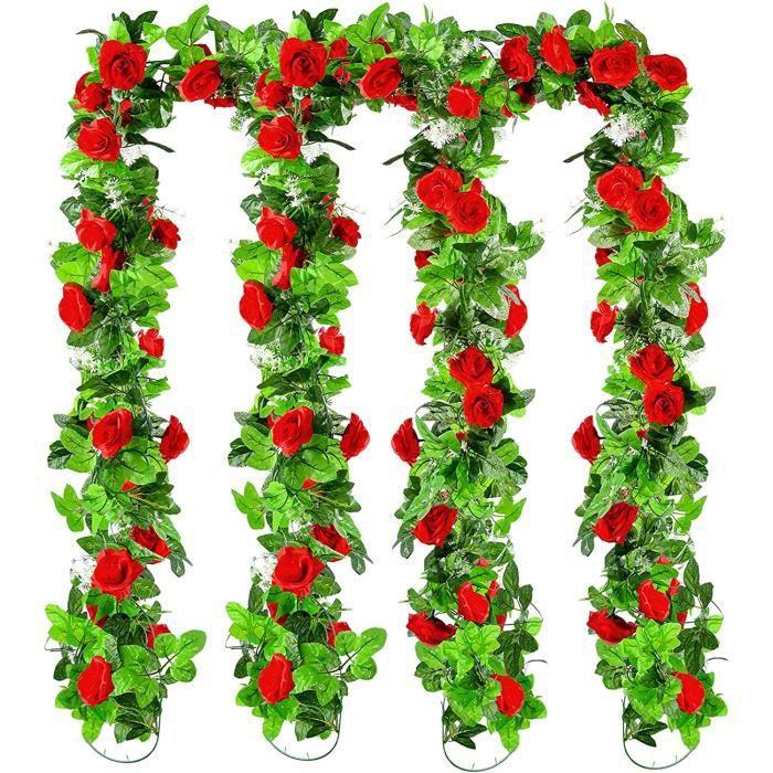 4PCS - 2.1m Lierre Artificiel Guirlande rose ,2pcs Rose blanche laiteuse + 2pcs Rose clair Rose dedéco Décor Maison Jardin Mariage