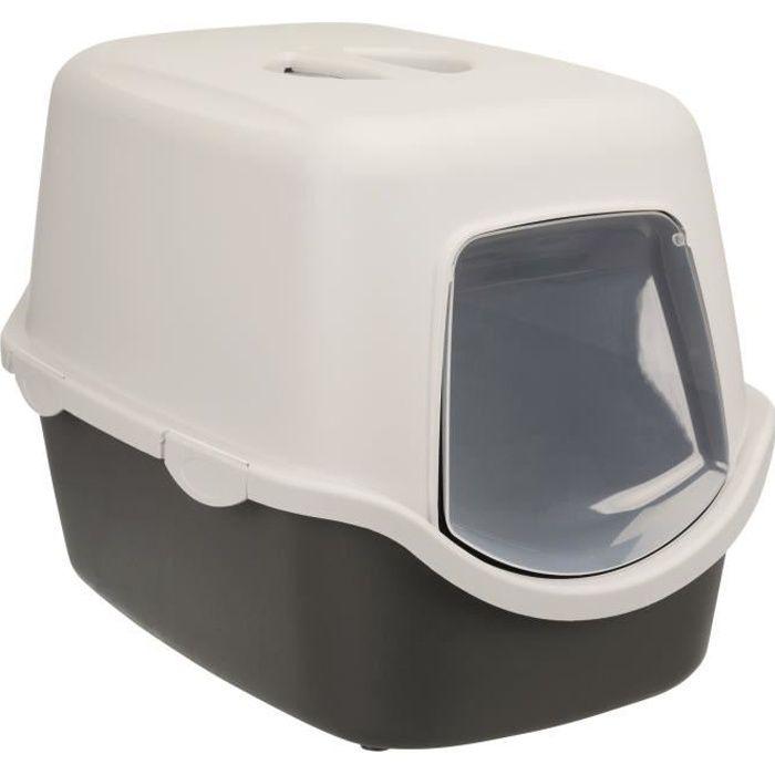 TRIXIE Bac à litière Vico - 40 x 40 x 56 cm - Gris foncé et gris clair - Pour chat