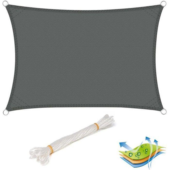WOLTU Voile d'ombrage rectangulaire en polyester,protection contre le soleil avec protection UV pour jardin ou camping,2x3m Gris