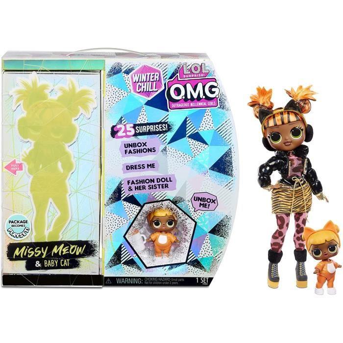 Zapf Creation 570271E7C L.O.L. Surprise! O.M.G. Winter Chill Missy Meow Poupée Mannequin & Poupée Baby Cat avec 25 Surprises
