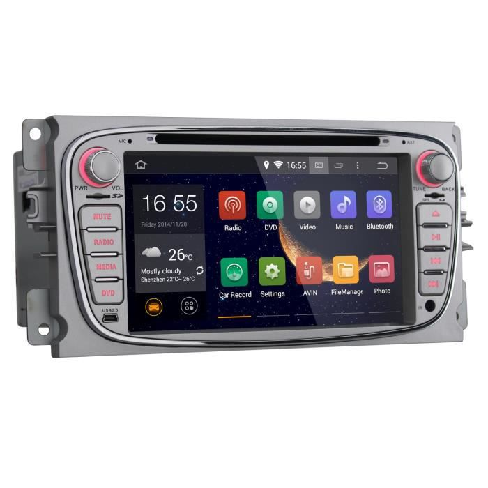 7 pouces 2 din android 4 4 autoradio pour ford focus mondeo s max kuga de navigation gps avec hd. Black Bedroom Furniture Sets. Home Design Ideas