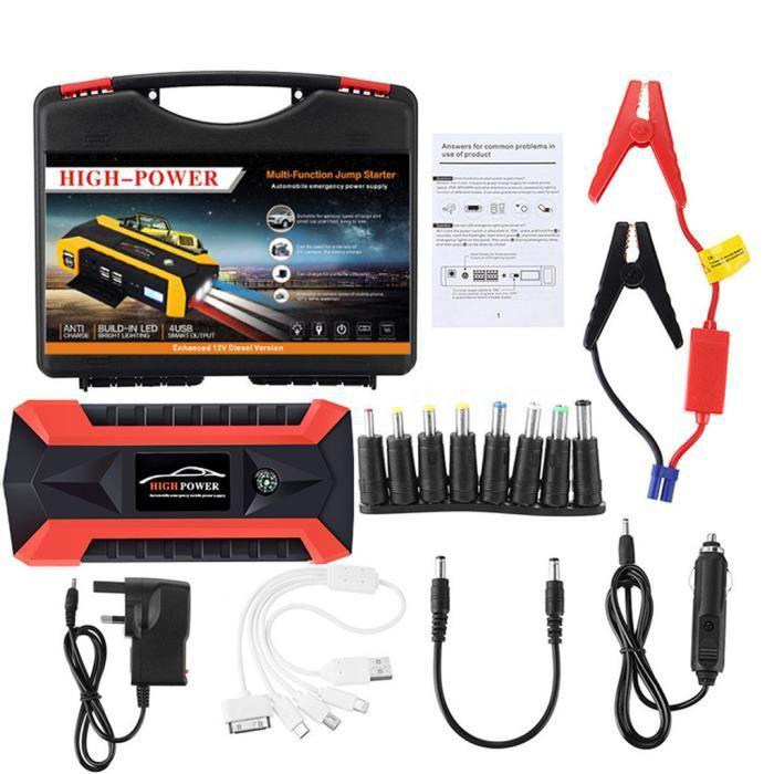 Couleur: bleu 12V 20000mAh Mini voiture multifonctions portable Jump Starter Power Booster chargeur de batterie Chargeur de d/émarrage durgence