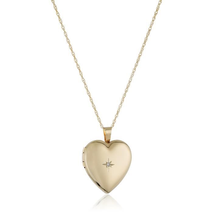14k Gold-filled Polished Heart Pendant With Genuine Diamond Locket Necklace, 18 A46IT
