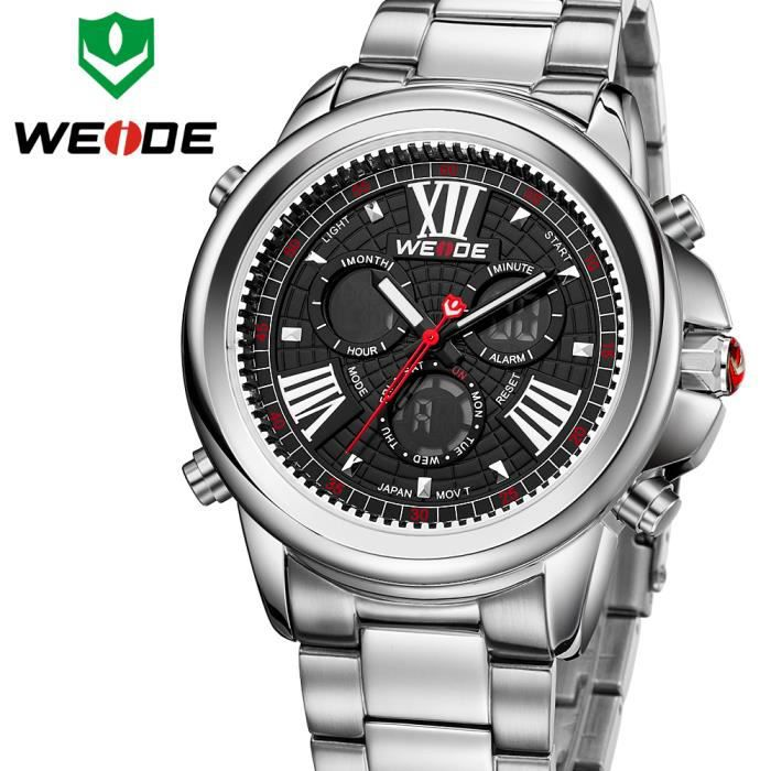 date relojes de marca weide marque montre homme quartz date jour montre tanche r tro. Black Bedroom Furniture Sets. Home Design Ideas