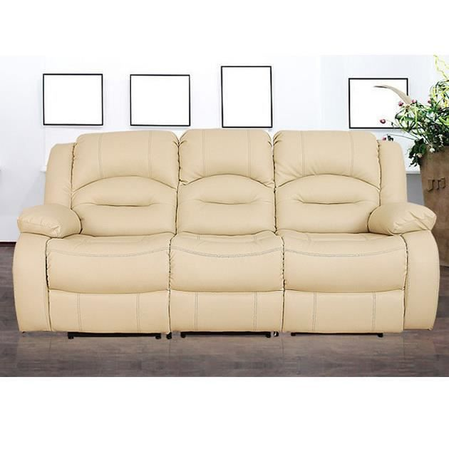 divan massage 3 places beige achat vente canap sofa