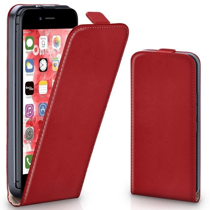 COQUE IPHONE 5S, clapet cuir rouge - 1348x - réf : 15227 ...