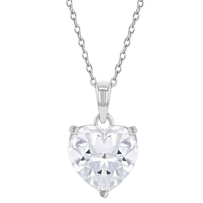 Filles Zircone Cubique Clair Petit 40 cm Argent 925//1000 C/œur Ouvert Pendentif Collier In Season Jewelry