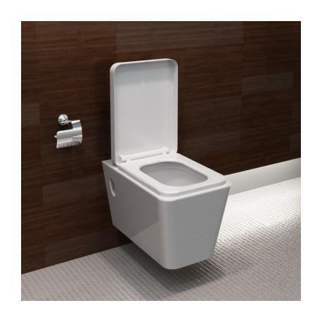 wc blanche avec abattant carr achat vente wc toilette bidet wc blanche avec abattant. Black Bedroom Furniture Sets. Home Design Ideas