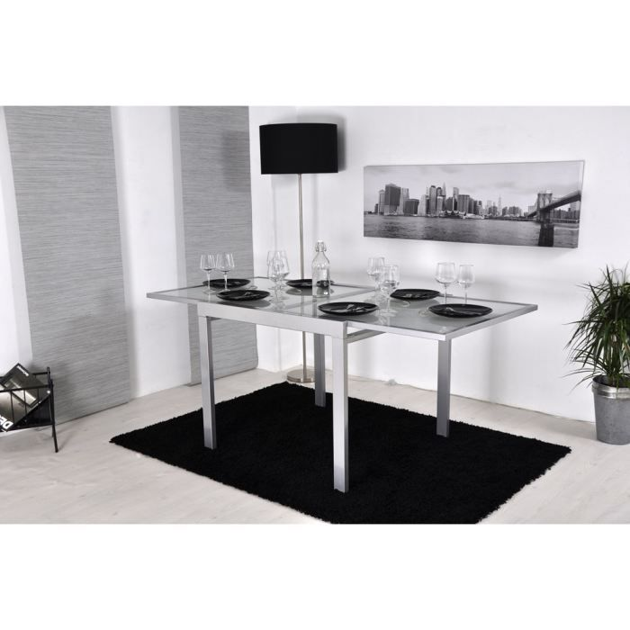 Extend table extensible grise 90 180cm achat vente for Table de cuisine grise rectangulaire