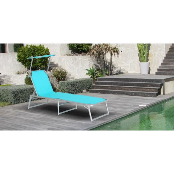 bain de soleil pliable aluminium textil ne bleu achat vente chaise longue bain de soleil. Black Bedroom Furniture Sets. Home Design Ideas