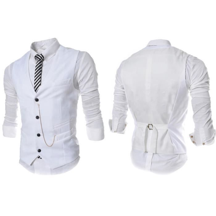 gilet hommes slim fit costume de mariage vest blanc achat vente gilet de costume soldes. Black Bedroom Furniture Sets. Home Design Ideas
