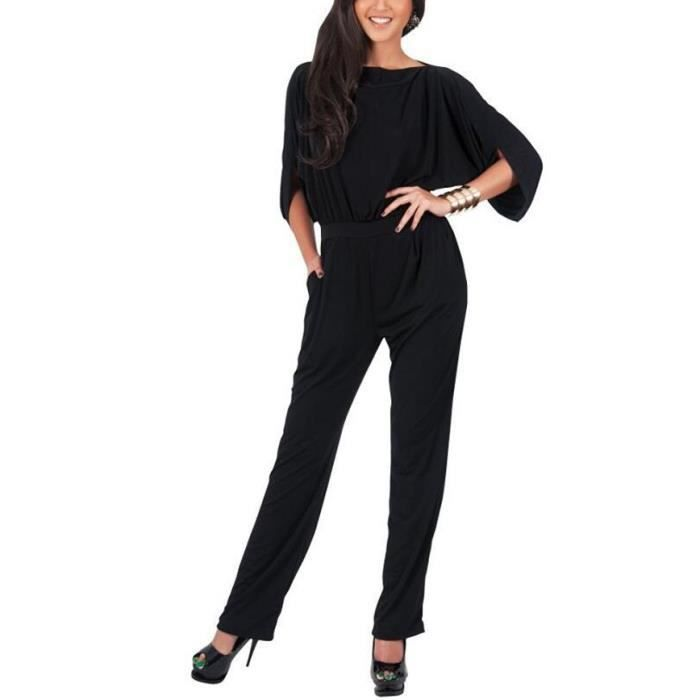 combinaison pantalon larges femme de soir e noire uni sexy l gante jumpsuit chic col v manches. Black Bedroom Furniture Sets. Home Design Ideas