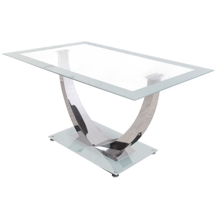 Table manger en chrome et verre tremp coloris blanc for Table a manger verre