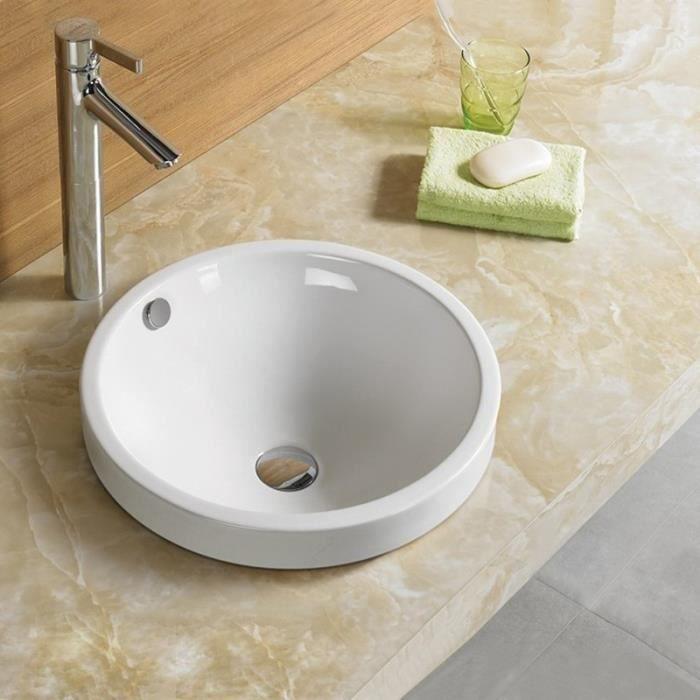 Vasque Semi Encastrable Ronde - Céramique - 45 cm - Rani