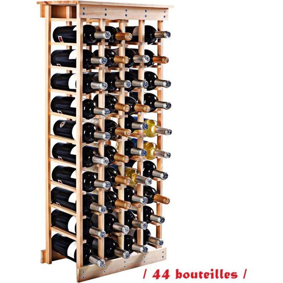 Fabriquer Casier À Bouteilles En Bois Étagère à vin casier à 44 bouteilles en bois de pin robuste