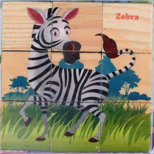 PUZZLE Puzzle enfants en bois 9 blocs six côtés blocs de
