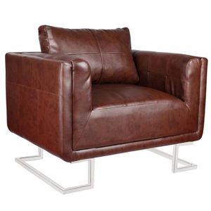 FAUTEUIL Fauteuil Grant moderne en cuir marron -