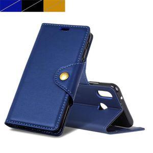 HOUSSE - ÉTUI Coque Huawei P20 Lite, Bleu Cheval skin Texture Ho