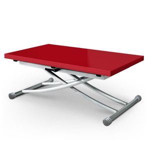 TABLE BASSE Table basse relevable Carrera Rouge laqué