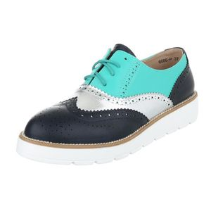 MOCASSIN Femme chaussures flâneurs lacer turquoise Multi 38