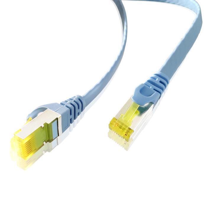 ADWITS 2 pièces 0,25 m CAT 7 câble Ethernet plat pour modem routeur routeur point d'accès - bleu