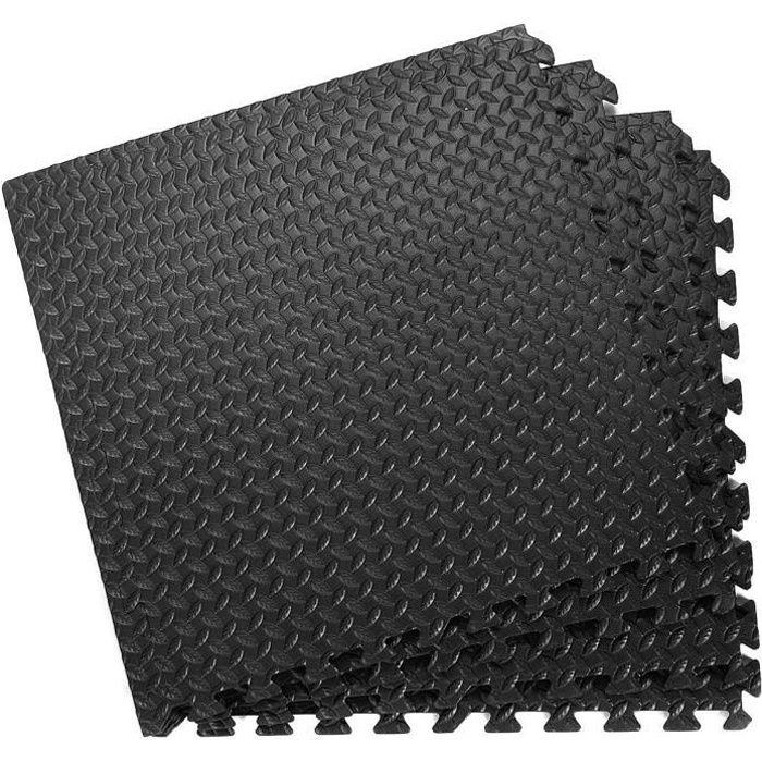 GOPLUS Tapis de Protection de Sol Ensemble de 12 Dalles Carrées en Mousse EVA 60 x 60 x 1, 2 CM Noir