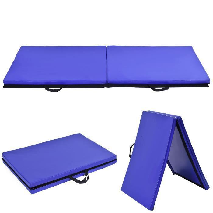 Tapis de Gymnastique Pliable 180 x 60 x 3,8 cm Epais et Portable Matelas de Gym Pliant pour Fitness et Exercices Couleur Bleu