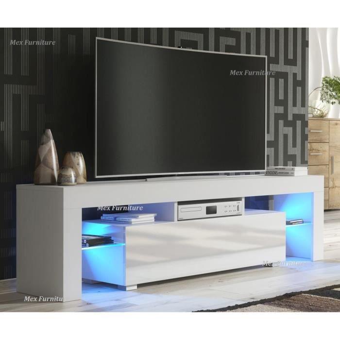 Meuble TV / Banc TV Blanc Mat 130 cm avec LED style moderne