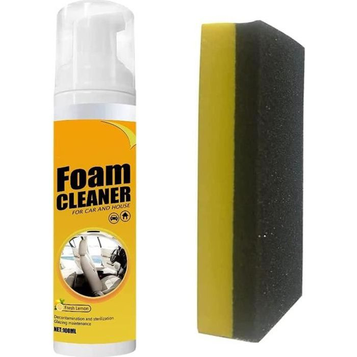 Foam Cleaner Spray for Car and House Lemon Flavor Multipurpose Leather Seat Home Cleaning Kit (1 Kit)