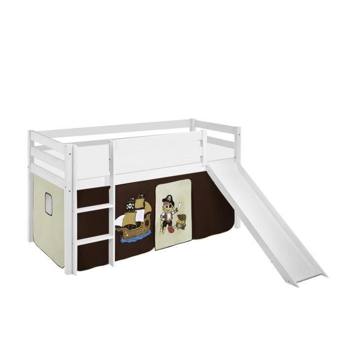 Lit surélevé ludique JELLE Pirate marron beige - avec rideaux et toboggan - LILOKIDS - blanc laqué