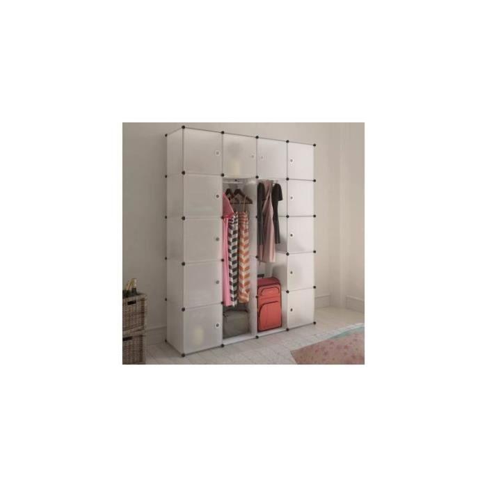 Cabinet modulable avec 14 compartiments blanc 37x146x180,5 cm alsa