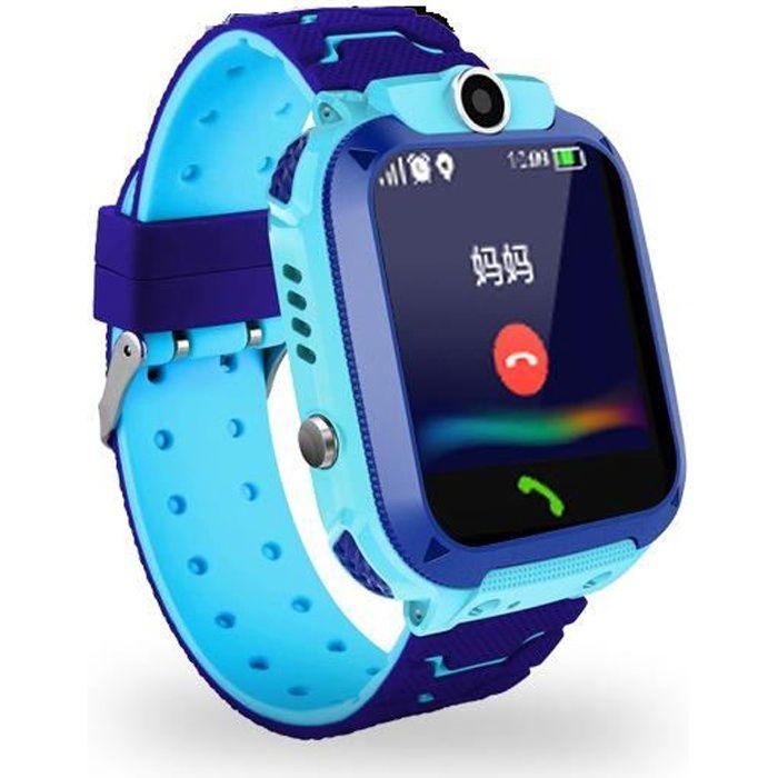 Montre connectée enfant sport 9pcs smartwatch SOS Bleu intelligente bluetooth GPS digital montre étanche bracelet connecté
