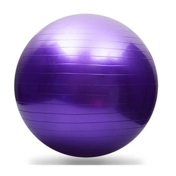 65cm exercice yoga swiss ball anti-éclatement+pompe violet MKK53