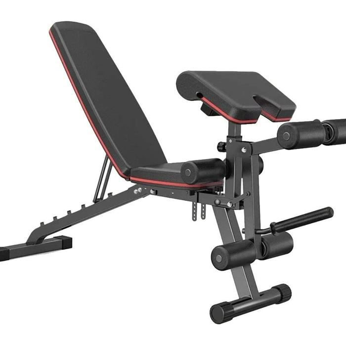 BANC DE MUSCULATION Bancs Musculation Pliable,Entra&icircnement Assis-Debout,Robuste,Inclinaison Plate,Multi-Usage,Equipement495
