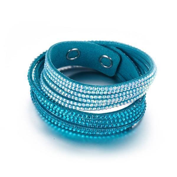 Bracelet 3 Rangs Cristaux Bleus et Blancs de Swarovski Elements et Velours Turquoise