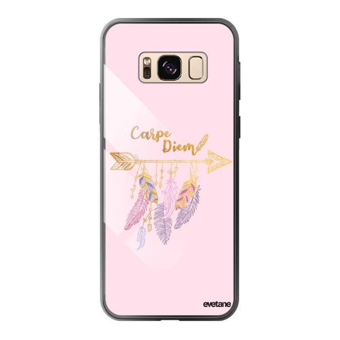 Coque en verre trempé pour Samsung Galaxy S8 Carpe Diem Or Ecriture Tendance et Design Evetane.