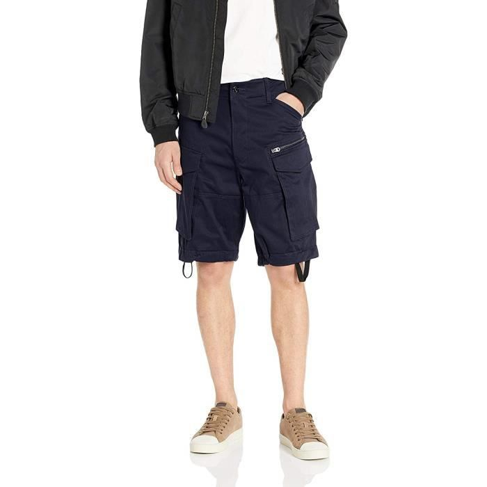 G-STAR RAW Rovic Zip Relaxed 12-Length Shorts, Noir (Mazarine Blue 4213), 28W Homme - 51003-8595-071-002-28