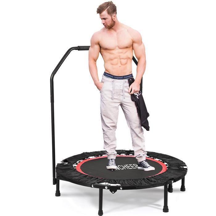 Mini Trampoline Fitness Gymnastique Coussinet Ø 102cm pliage avec main courante réglable et angle Poids Max 135 kg