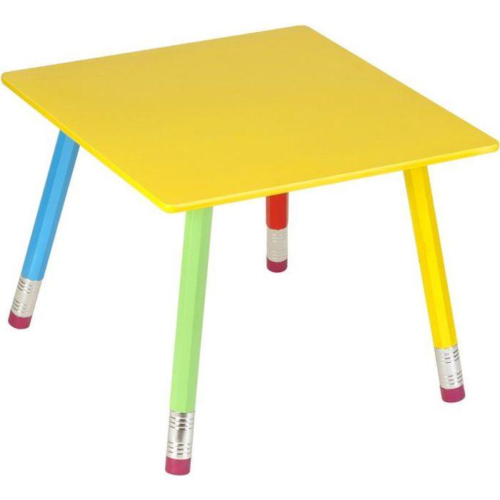 Table carrée Crayons en Bois pour enfant 55 x 55 x 43 cm