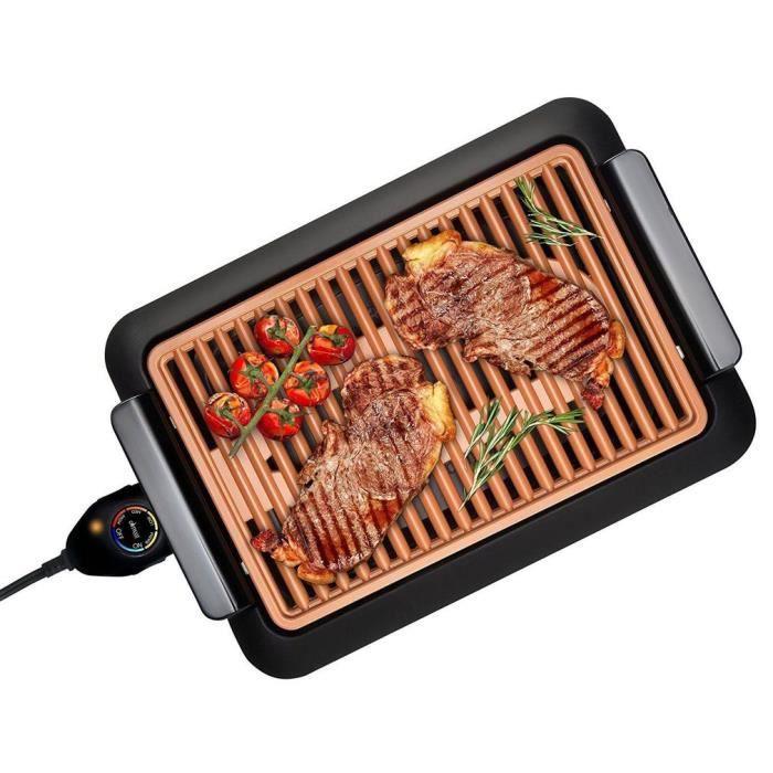 GAUFRIER Grille-viande électrique Plaque de barbecue électrothermique Fast Grill Sans fumée Barbecue intérieur Antiadhésif